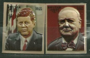 Bhutan MNH 145-145B Kennedy Churchill 3D Heat Molded