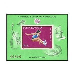 Romania 3209b sheet,MNH.Michel 4067 Bl.208. Olympics Los Angeles 1984.Jumping.