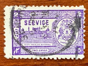 Bhopal 1947 2a violet, used. Scott O56 CV $22.50, SG O348