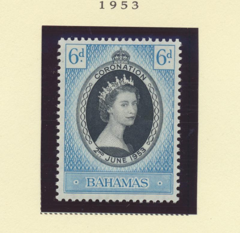 Bahamas Scott #157, Mint Light Hinge Marks MLH, Queen Elizabeth II Coronation...