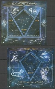 PE245 2013 MALI SPACE STARS ZODIAC ASTROLOGY CONSTELLATIONS KB+BL MNH STAMPS