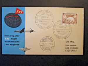 Greenland 1954 SAS Flight Cover to California - Z5043
