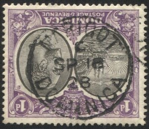 DOMINICA 1923 Sc 66, Used VF 1d GV, SOTN MARIGOT / C  postmark cancel