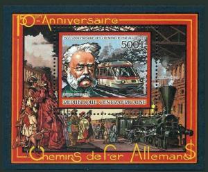 Central Africa 841,MNH.Michel Bl.401A. German Railways,19865.Werner von Siemens.
