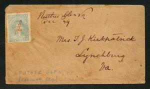 CSA Cover Scott #2e XF Stone Y Ruther Glen VA Rare Town Dec 29 Manuscript