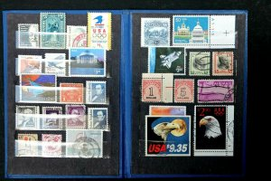 US HIGH VALUE STAMP COLLECTION USED in Vintage Book Lot of 28 Stamps