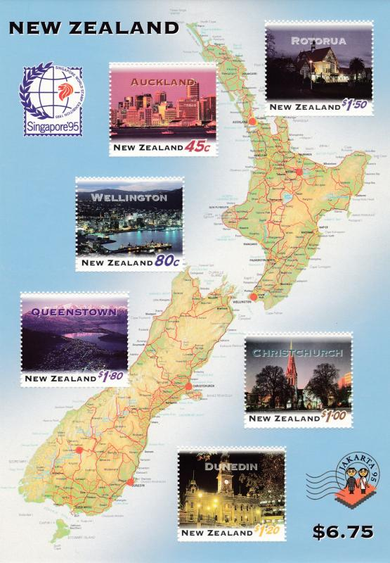 New Zealand 1995 Sheet for Singapore '95 Stamp Show. New Zealand By Night VF/NH