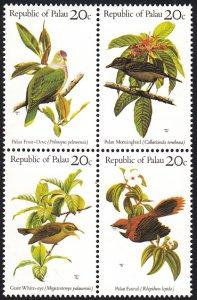Palau 1983 MNH Sc 8a Native Birds Block of 4