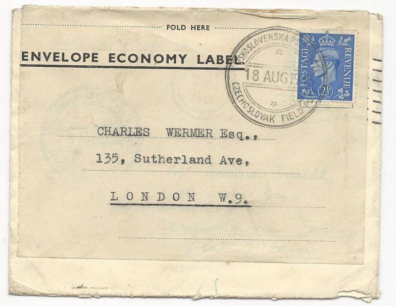 Great Britain Scott #262 on Cover Czechoslovakia Feld Post August 18, 1943