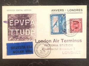 1931 Antwerp Belgium First Flight Postcard Cover FFC to London England