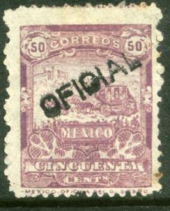 MEXICO O19, 50c MULITA OFFICIAL UNUSED, NG (769)