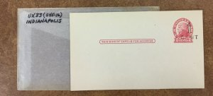 UX33 mint postal card , Indianapolis S45-16 1c surcharge