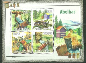 Guinea-Bissau MNH S/S Honey Bees Insects 2009 4 Stamps