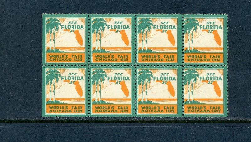 8 VINTAGE 1922 SEE FLORIDA AT WORLD'S FAIR CHICAGO POSTER STAMPS L598) PALM TREE