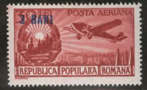 ROMANIA Scott C37 MH*  Airmail overprint stamp 1952