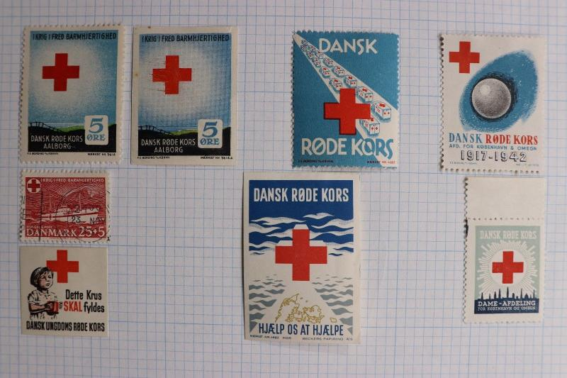Denmark Red Cross war relief fund charity seal lot youth mug poster stamp poor