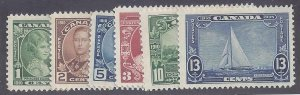Canada Scott # 211-216 complete set Mint LH VF