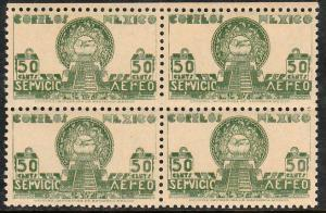 MEXICO C138, 50c 1934 Definitive Issue Blk of 4 MNH. VF. (395)
