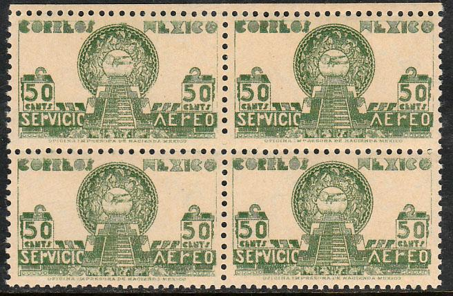 MEXICO C138, 50¢ 1934 Definitive Issue Blk of 4 MINT, NH. VF. (395)