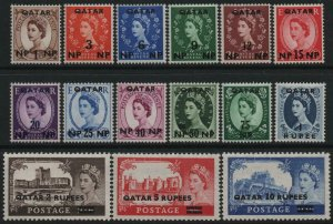 QATAR-1957-59 Low & High Value Definitive Sets Sg 1-15 MOUNTED MINT V40491