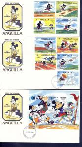 Anguilla, 559a-68a, Disney Set (3) FDC's,**Used**