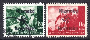 CROATIA WW2 NJEMAKA OVERPRINTS CDS F/VF TO VF SOUND x2 DIFFERENT