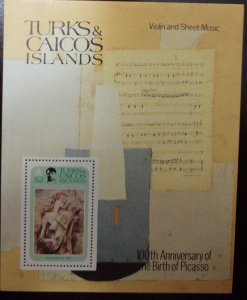 O) 1981 TURK AND CAICOS ISLANDS, ART - PAINTING PABLO PICASSO, GIRL WITH A MANDO