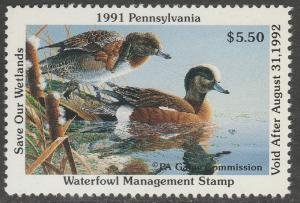 U.S.-PENNSYLVANIA 9, STATE DUCK HUNTING PERMIT STAMP. MINT, NH. VF