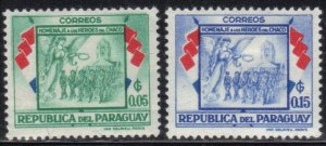 PARAGUAY SC# 508+510 ** MH ** 5+15c 1957  SOLDIERS & ANGLE SEE SCAN