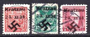 CZECHOSLOVAKIA 3 DIFFERENT KRATZAU SUDETENLAND OVERPRINTS CDS F/VF TO VF SOUND