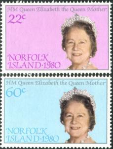 Norfolk Island 1980 SG252-253 Queen Mother set MNH