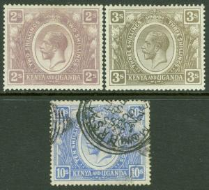 EDW1949SELL : KENYA U & T 1922-27 Scott #30, 32 VF MOG & #36 VF Used. Cat $100.