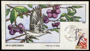 Collins Handpainted FDC North American Wildlife: Mockingbird (6/13/1987)