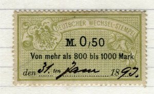 GERMANY; 1880s-90s classic early Bill Stamp fine used 0.50M. value