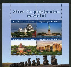 Chad 2021 World Heritage Sites Statue of Liberty Stonehenge sheet mint nh
