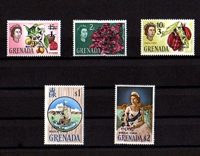 GRENADA - 1967 - QE II - FLOWER - SHIP - EXPO 67  MONTREAL - 5 X MINT - MNH SET!