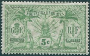 New Hebrides French 1911 SGF11 5c green Weapons Idols MH