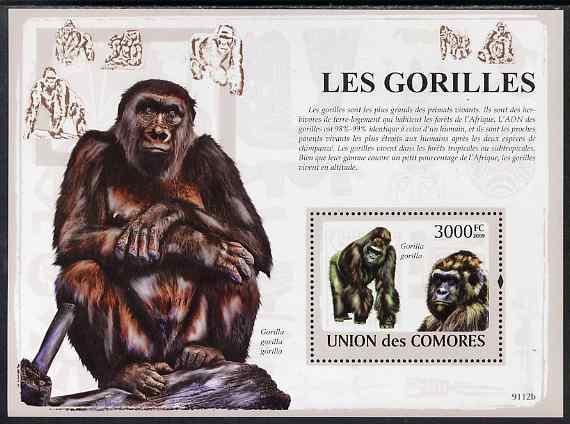 Comoro Islands MNH S/S Gorillas Primates 2009