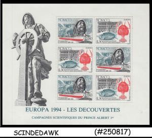 MONACO - 1994 EUROPA DISCOVERIES MADE BY PRINCE ALBRERT  MIN. SHEET MINT NH
