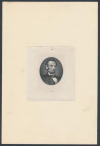 ABRAHAM LINCOLN ENGRAVED DIE PROOF BY ABNCo. WITH PLATE # V - 37731 HV7016