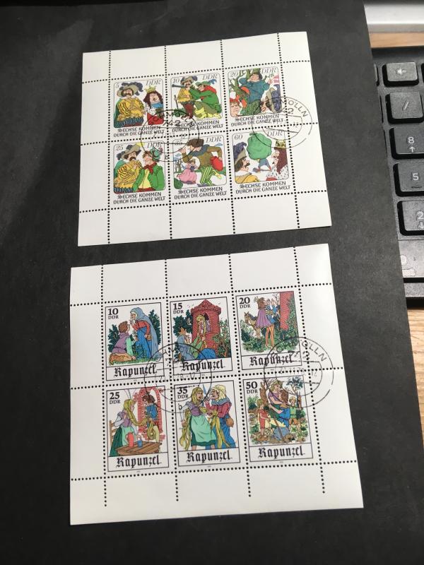 German Democratic Republic Sc. #1874a & 1975a C.T.O.Two Souvenir Sheets - Fables
