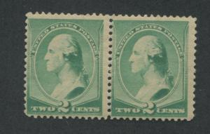 1887 US Stamp #213 2c PAIR Mint Never Hinged F/VF Catalogue Value $240