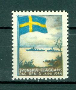 Sweden Poster Stamp Mnh.1944. National Day June 6. Swedish Flag. Navy Ships