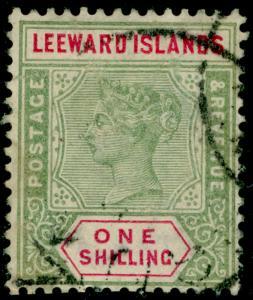 LEEWARD ISLANDS SG7, 1s green & carmine, USED. Cat £60.
