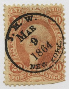 B21 U.S. Revenue Scott R41c 20-cent Foreign Exchange, nice cancel, SCV = $90