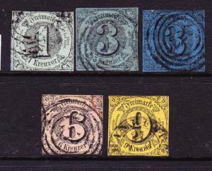 THURN & TAXIS SOUTH 1852-53  SET 5  FU  Sc 42/46