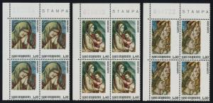 San Marino 860-4 TL Blocks MNH Art, Frescoes by Giotto