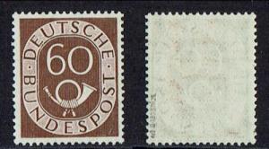West Germany 1951 , Posthorn 60 Pf siena , MNH