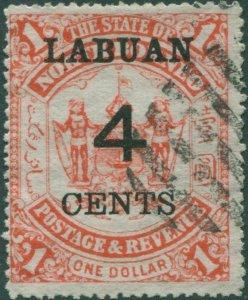 Malaysia Labuan 1904 SG137 4c on $1 Arms CTO