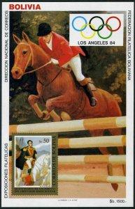 Bolivia 692a note 1,MNH.Mi Bl.139. Olympics Los Angeles-1984.Equestrian.